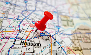 A map of Houston with a red pin