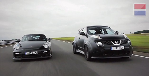 GT R Powered Nissan Juke R Lines Up Against Porsche 911 GT2 RS