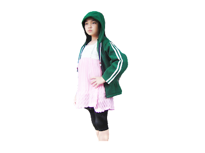 นางแบบ-เสื้อหมวก เด็ก-สีเขียว