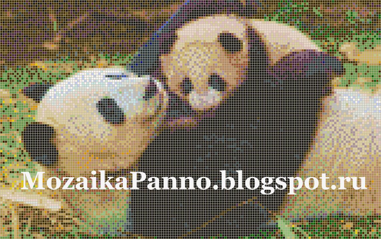 Мозаичное панно «Панда с детенышем»
