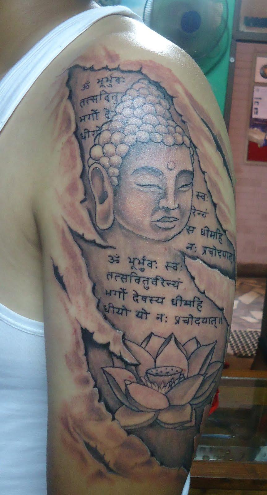 funky buddha tattoo thamel kathmandu buddha with gayatri mantra. Black Bedroom Furniture Sets. Home Design Ideas