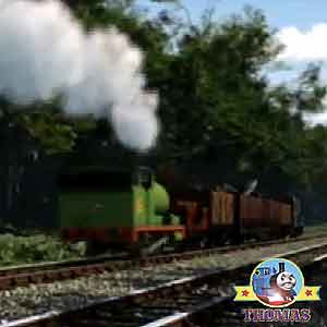 Thomas and friends engines Percy and Diesel the train trundled on towards Toby tram whistling woods