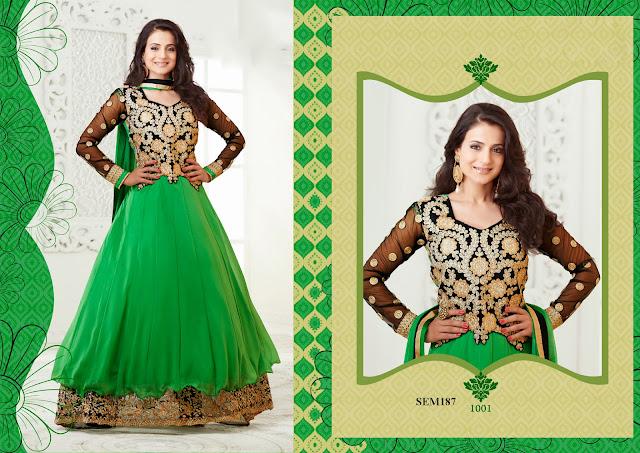 Indian Actress Amisha Patel Long Anarkali Suit