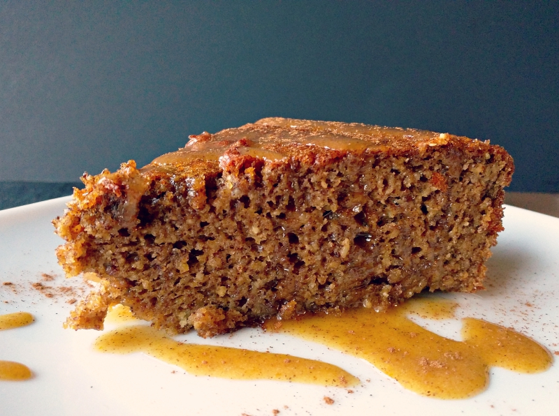 grain-free/paleo almond butter pumpkin cake with pumpkin cinnamon glaze