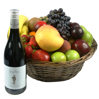 Wine Fruit Gift Basket Image