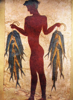 greek islands santorini - akrotiri ancient wall painting fisherman