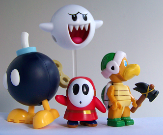 Knex Bob-omb, Shy guy, Boo and Hammer Brother