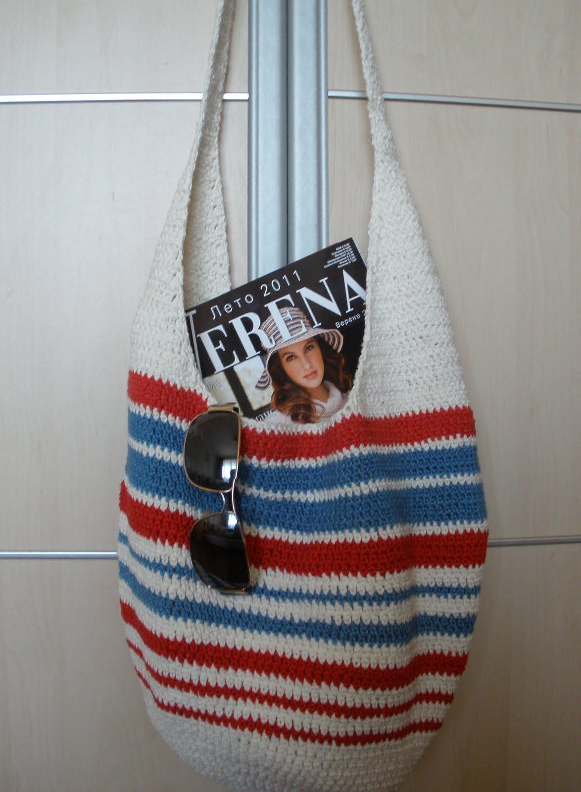 Вязание пляжной сумки спицами