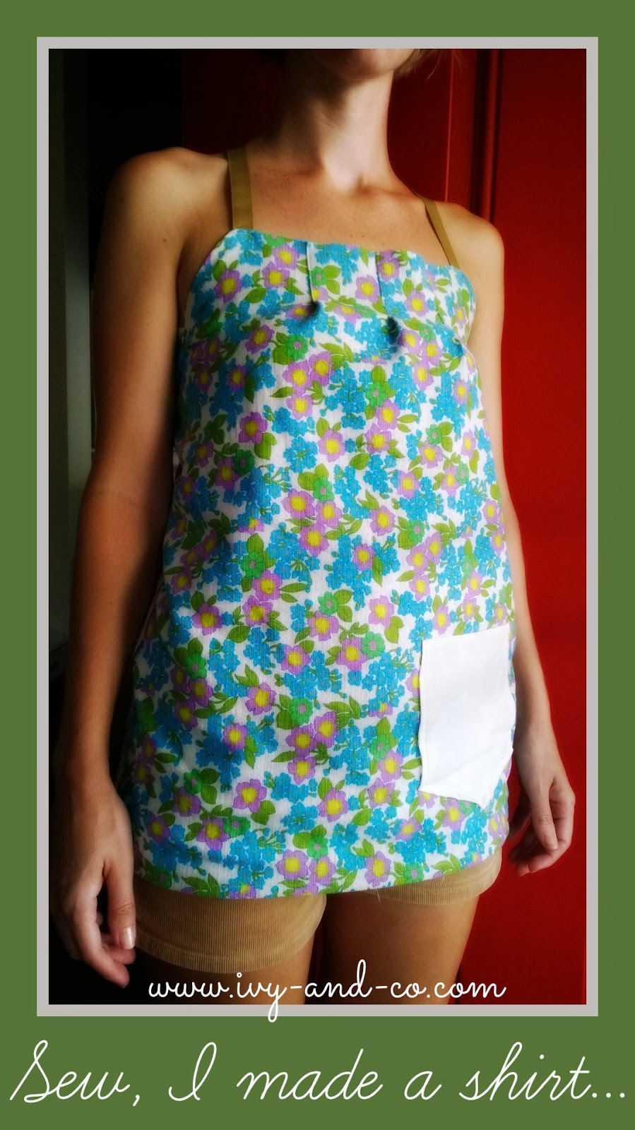 vintage fabric tunic with pocket floral