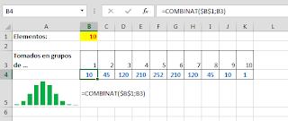 La función COMBINAT: Calculando el número de combinaciones.