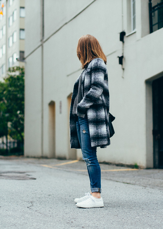 Vancouver fashion and style blogger In My Dreams wearing a coat for the first time this season.