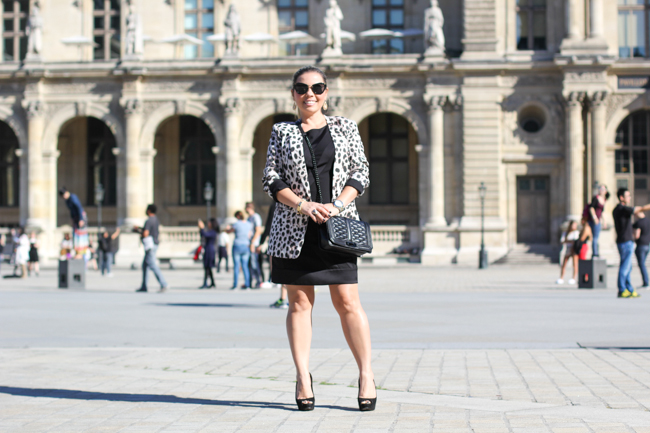little black dress and animal print blazer