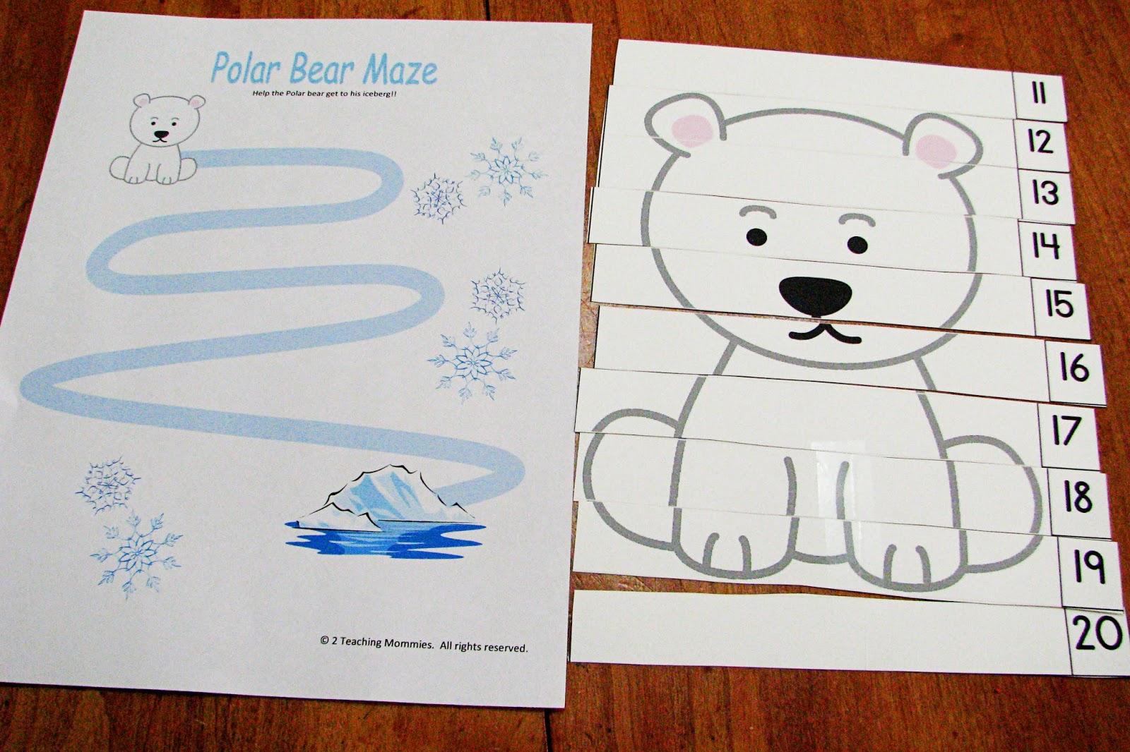 This Polar Lands printable preschool pack has some cute polar bear ...