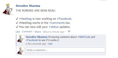 Facebook Hashtag: Updating status with hashtag and using it on comments