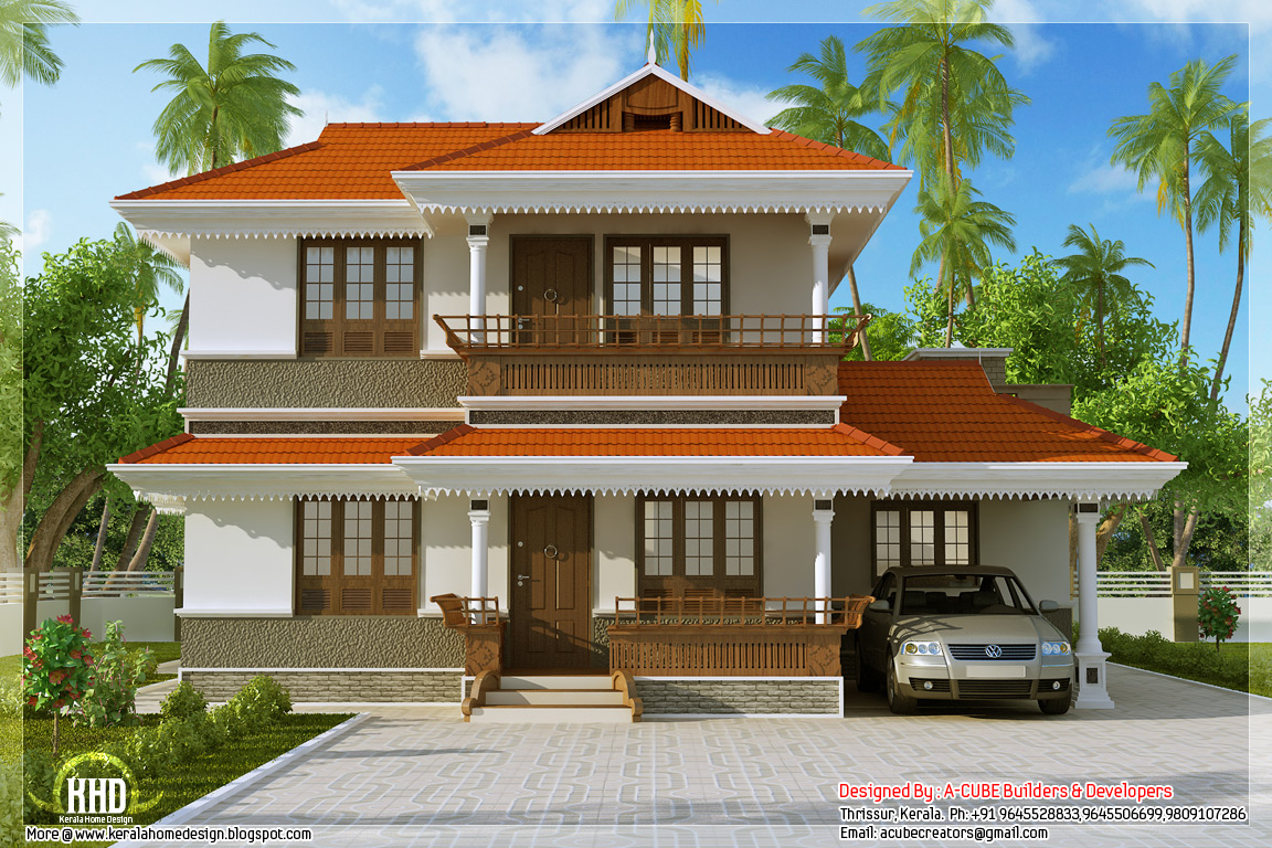 Kerala model home plan in 2170 kerala home for Beautiful model house