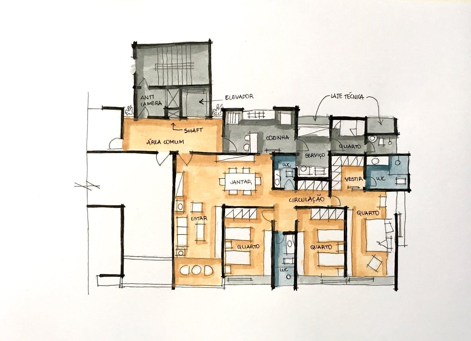 Extremamente Desenho à Mão Livre Aplicado à Arquitetura - Desenhos dos alunos  JG03