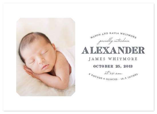 modern typographic photo birth announcement