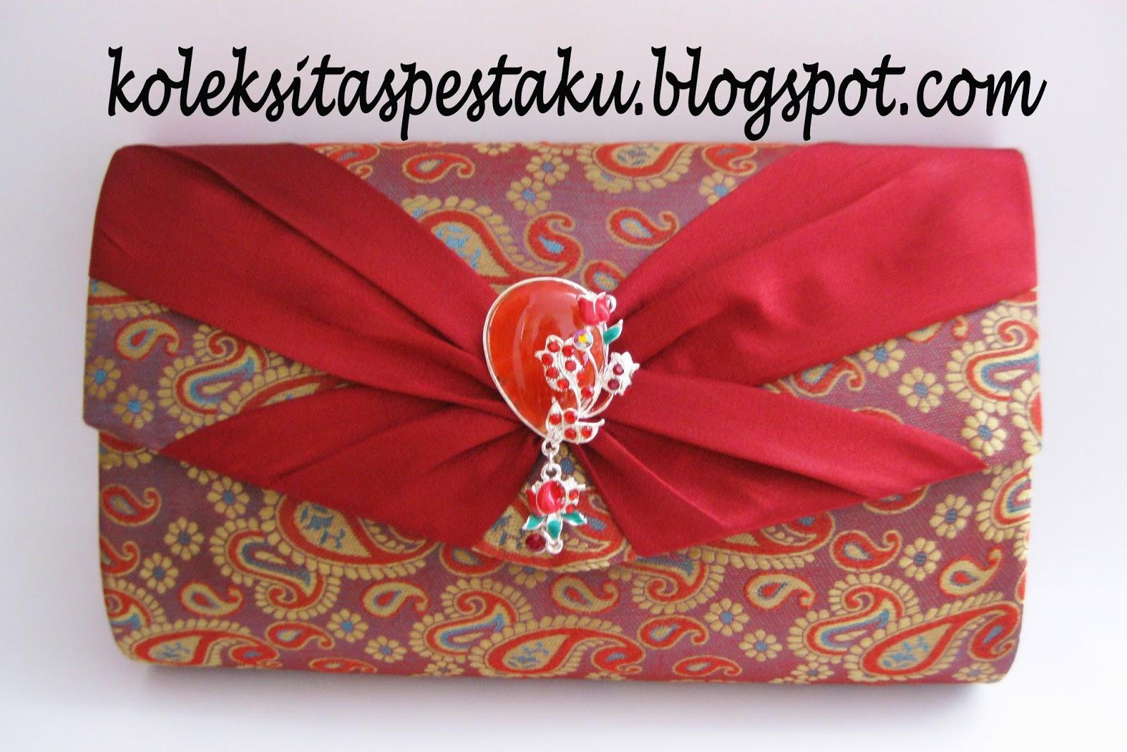 Clutch Bag Tenun sari india maroon Cantik Koleksi Tas Pesta