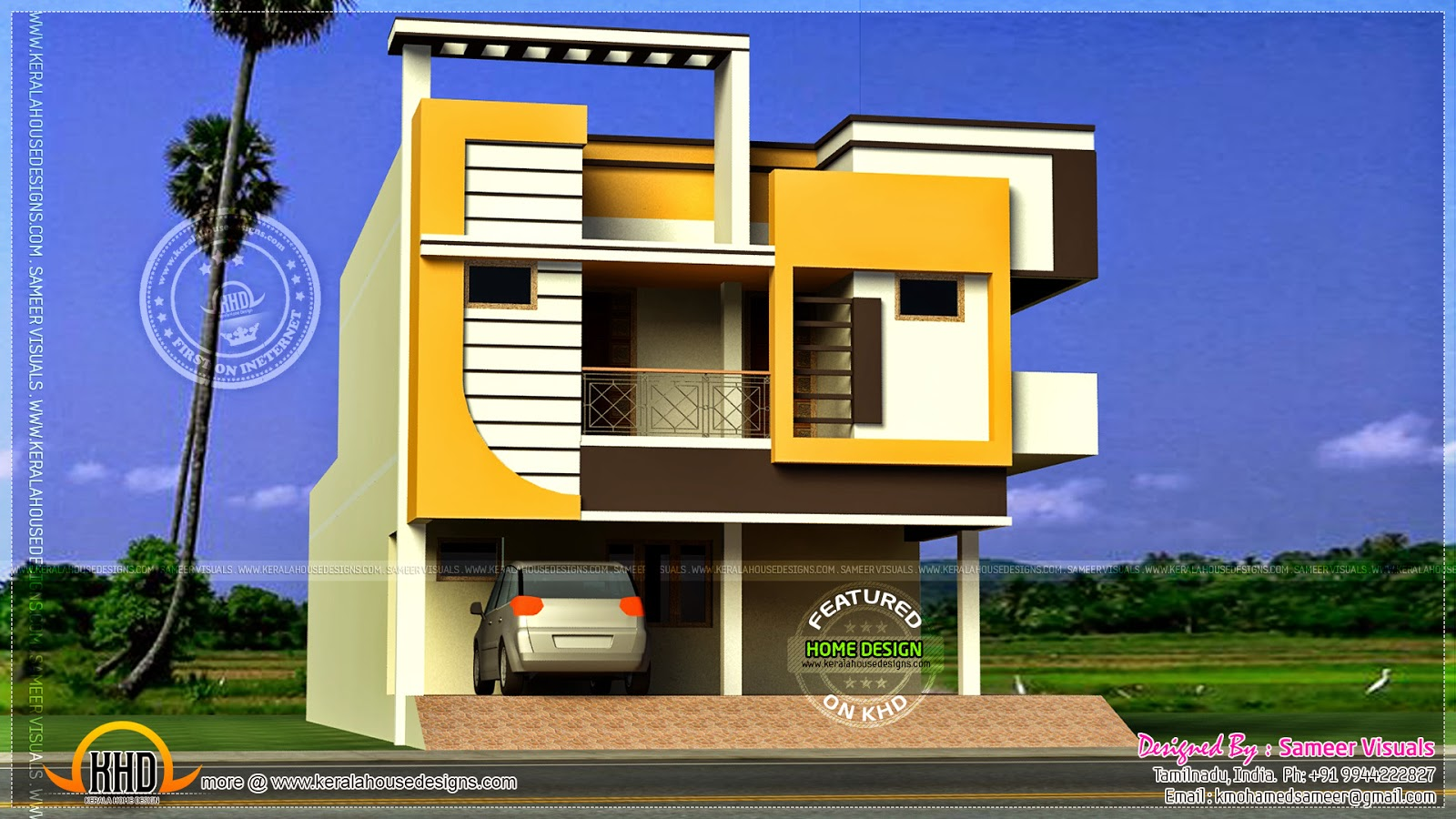 Front Elevation Of 120 Sq Yards House : Modern duplex house in square yards kerala home