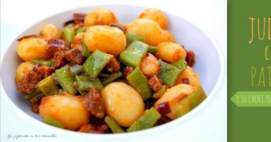 Jugando a las cocinitas jud as con patatas y su chorizo - Judias con chorizo y patatas ...