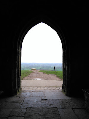 Looking North through St Michaels Tower on top of Glastonbury Tor