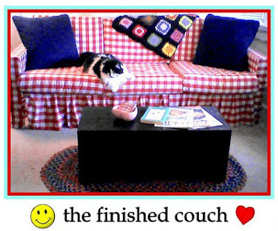 Pretty Little Rough Patches: Red Gingham Couch Makeover