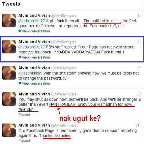 Akaun Facebook dipadam, Alvin Tan dan Vivian Lee mengamuk di Twitter