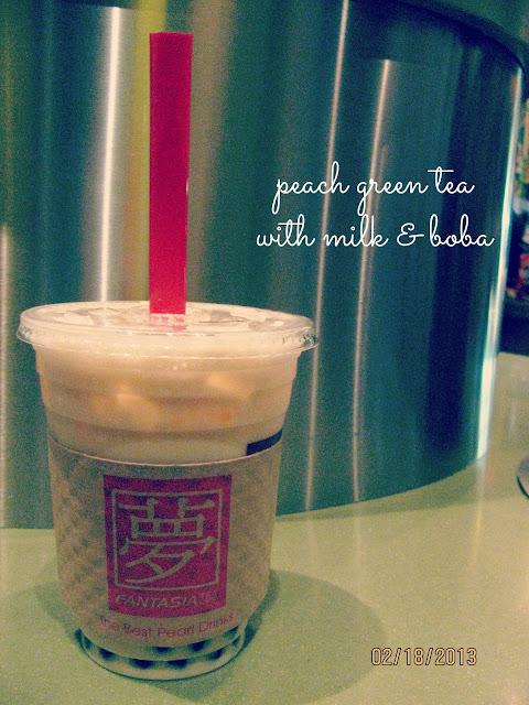 Fantasia on Santana Row- Peach Green Tea with Milk & Boba