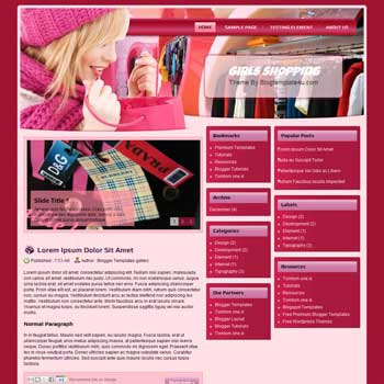 Girls Shopping Blogger Template. free shopping blogger template