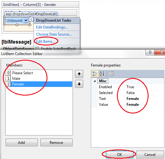 Customizing the dropdownlist in the edititemtemplate of gridview control