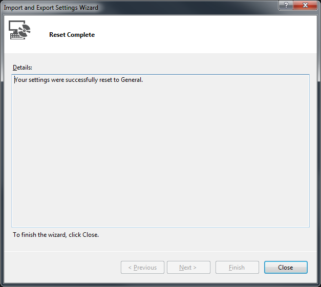 Tools > Import and Export Settings Wizard Step 4 Success