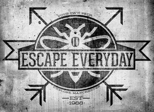 logo, explore everything, manchester, grunge, badge, vintage, textured, urbex, icon, bee, arrows, banner, derelict, vintage, traditional, escape, everyday