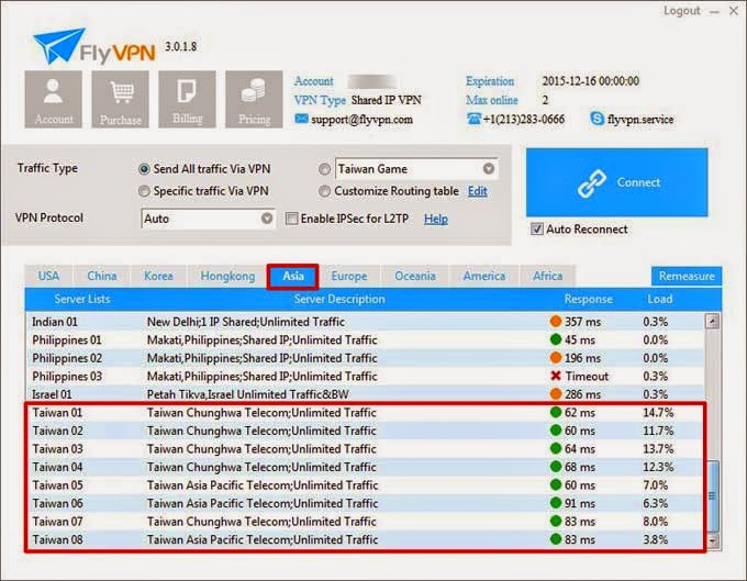 Taiwan VPN Servers in FlyVPN Paid Account