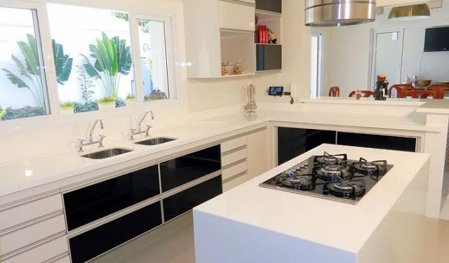Construindo Minha Casa Clean Cozinha em Laca ou MDF? Modernas e Lindas!! # Bancada Para Cozinha Onde Comprar