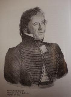 Gobernador don Estanislao López, obra del artista francés Carlos E. Pellegrini. litografía de Bacle, tomado de Wikimedia