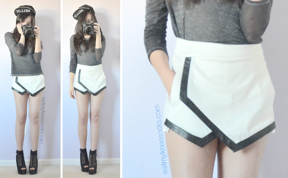 Full ulzzang-inspired outfit featuring the Romwe leather-trim asymmetrical original design skort, black wedges, a gray burnout T-shirt, and a Stylenanda-inspired Hello cap.