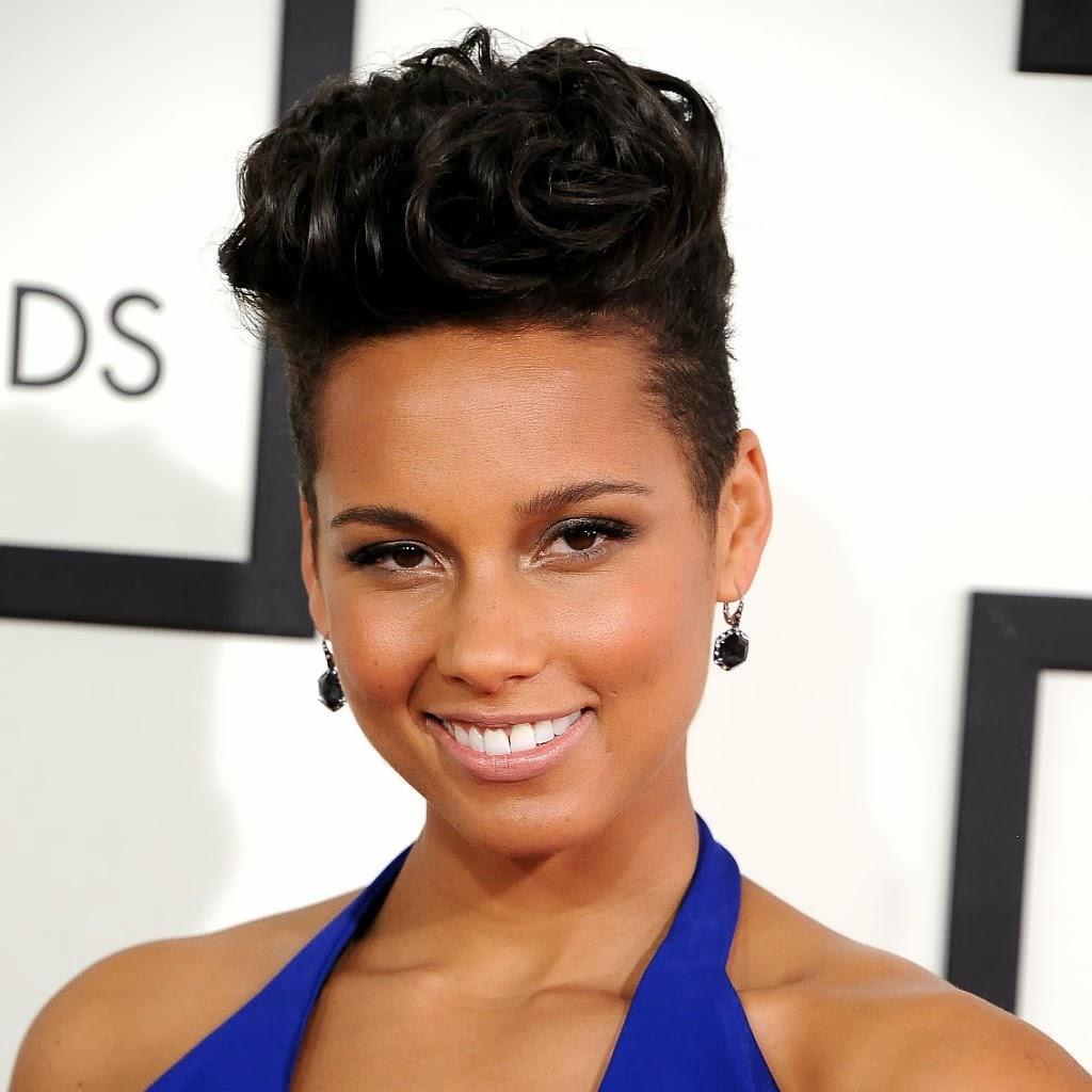 Alicia Keys' asymmetric smooth short hairstyle 2014 looks stylish ... Alicia Keys