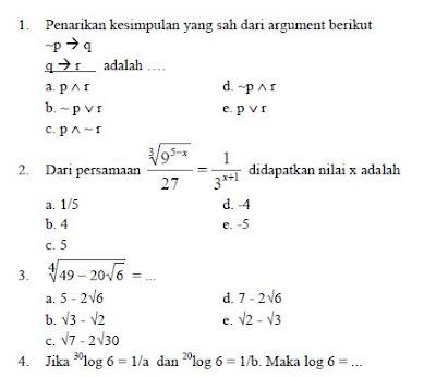 Prediksi Soal Ujian Nasional Matematika IPA Lengkap SMA 2012