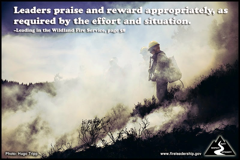 Leaders praise and reward appropriately, as required by the effort and situation. – Leading in the Wildland Fire Service, page 58  IGNITE the Spark for Leadership.