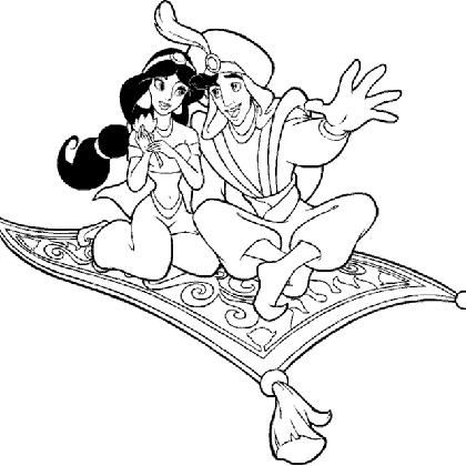 Coloriage princesse jasmine et aladdin fly coloriage - Coloriage de jasmine et aladin ...