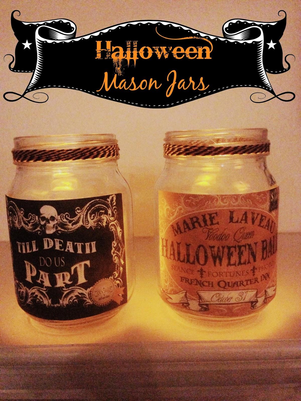 DIY Mod Podge Twine Halloween Mason Jars