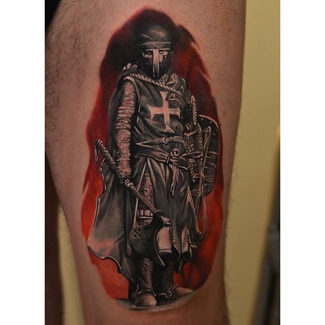 Templar Knight Leg Tattoo