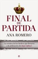 Ranking Mensual. Los 12 libros más vendidos. Número 3: Final de Partida, de Ana Romero.