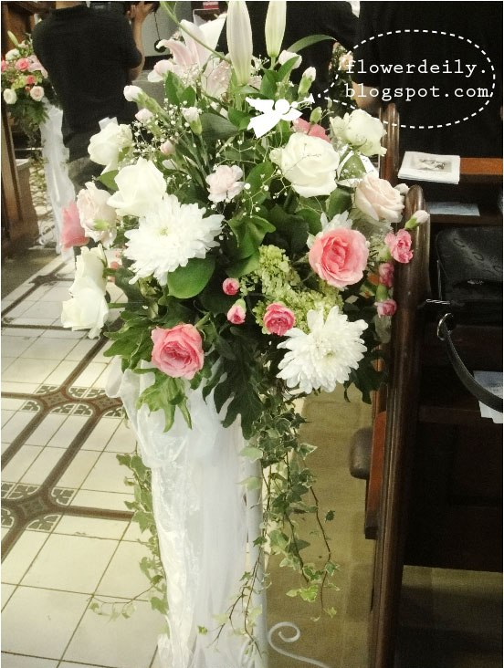 Wedding Church Décor: A White and Pink Theme ~ flower daily blog