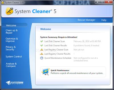 تحميل برنامج System Cleaner 6.0.0.15 لتنظيف و صيانة الويندز و حذف الملفات التالفة