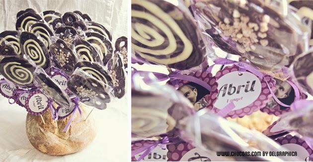 Piruletas de chocolate - detalle bautizo