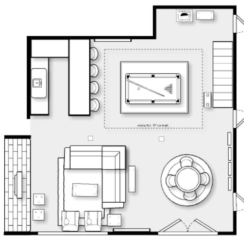 The yellow cape cod family cave lower level basement for Game room floor plans ideas