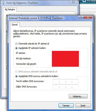 Windows Vista DNS Değiştirme
