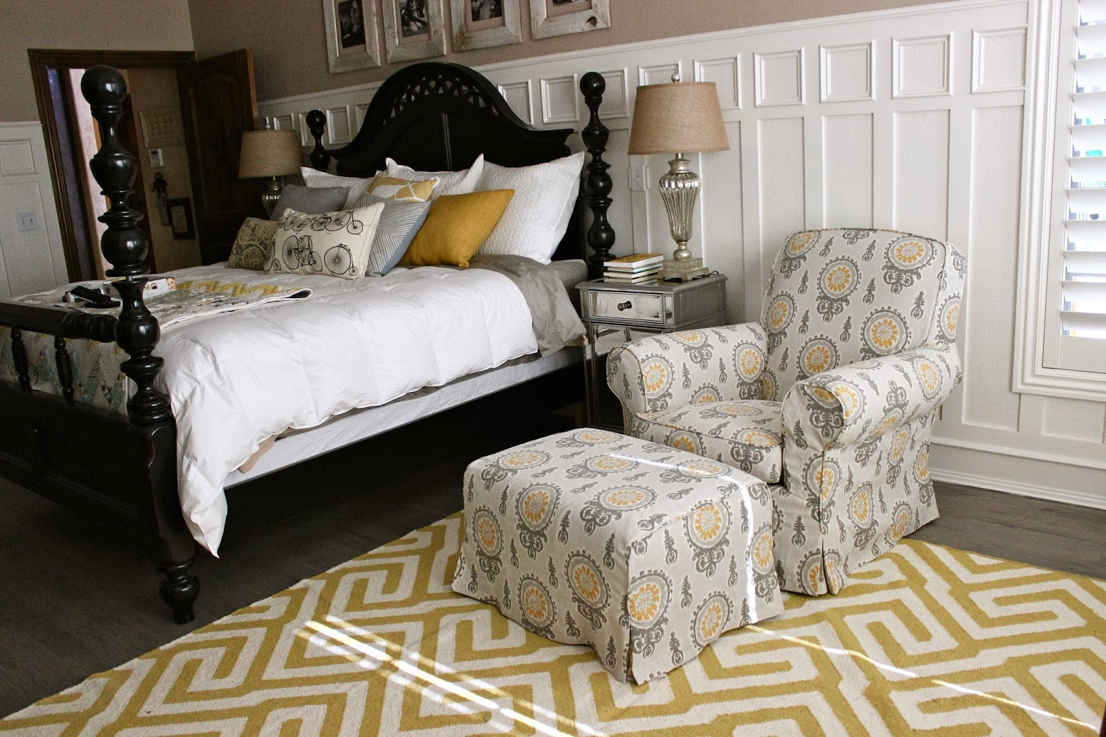 custom slipcovers by shelley gray yellow bedroom chair and ottoman