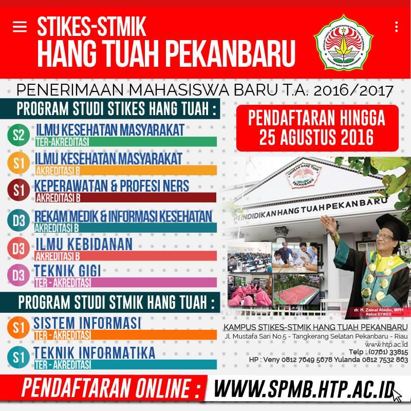 PENERIMAAN MAHASISWA BARU STIKES - STMIK HANG TUAH PEKANBARU TA 2016/2017